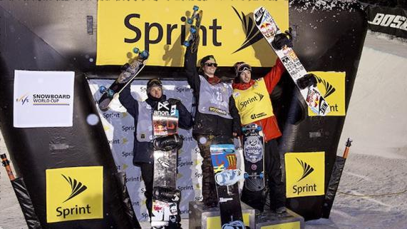 The 2013 men's Copper Grand Prix halfpipe podium: L-R Ben Ferguson, Taylor Gold, Greg Bretz | P: US Snowboarding