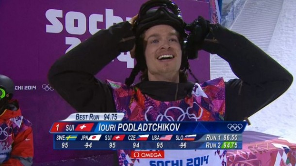Iouri Podladtchikov, in disbelief after winning gold
