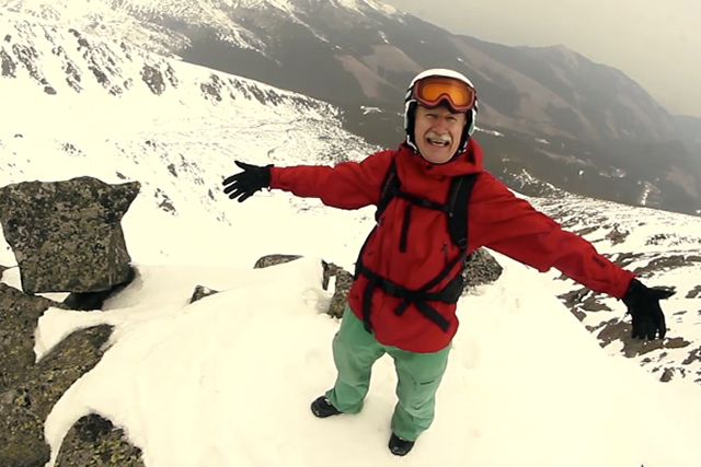 62-year-old snowboarder